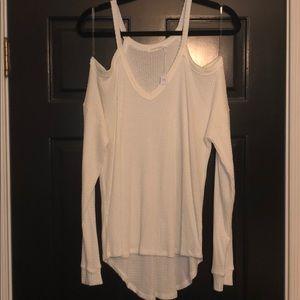 Honey Punch Cold Shoulder Long Sleeved Shirt